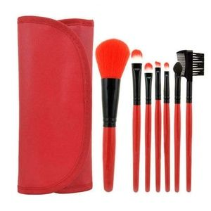 Other - 7 Piece Makeup Brush Set w/ Travel Bag - RED